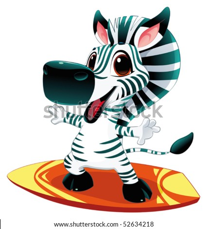 Zebra with surf. Funny cartoon and vector  character