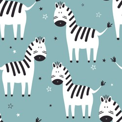 Zebras, stars, hand drawn colored backdrop. Colorful seamless pattern with animals. Decorative cute wallpaper, good for printing. Overlapping background vector, happy horses