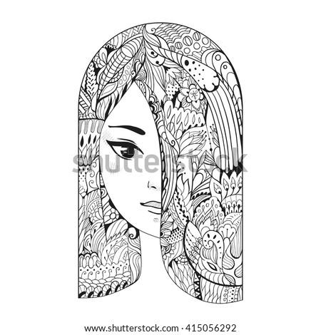 zen art girl portrait of a