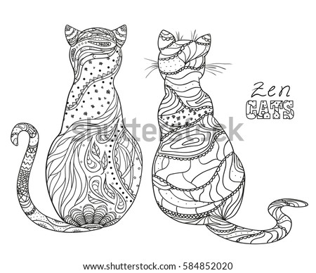 zen cats design zentangle
