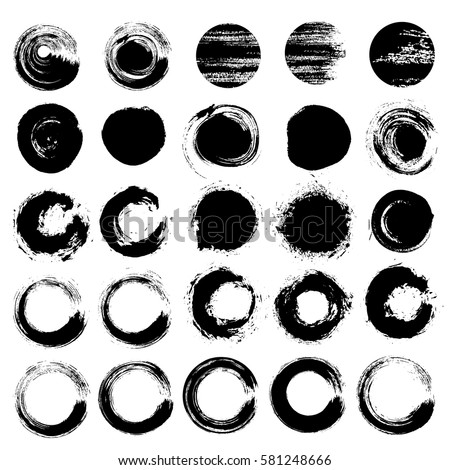 zen circles set grunge brush