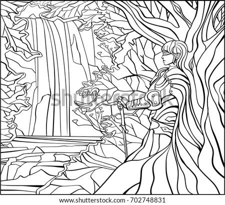 zen doodle  blind girl knight