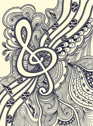 Zen doodle treble clef  notes  musical stanza with Zen tangle ornament style  black on white for coloring page or relax coloring book or wallpaper or for decorate package clothes or for Post Card