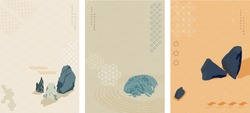 Zen garden background with Japanese wave pattern vector. Stones  element with icon in Asian style