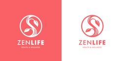 Zen lifestyle logo template design. Health and wellness spa icon. Balance and harmony yoga sign. Conceptual Yin Yang symbol with vine and leaf. Vector illustration.