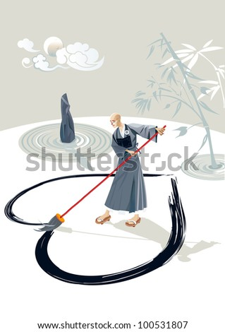 Zen monk in a garden drawing a large heart on the floor with a big brush. In the garden there is a stone and  few concentric circles of sand and bamboo plant. In the sky is the moon and some clouds.