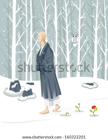 zen monk walking slowly he is