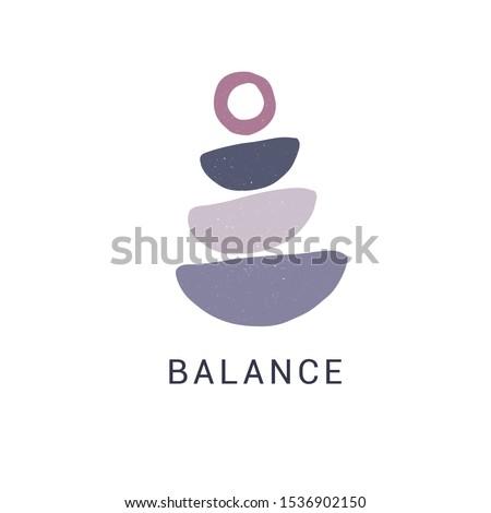 Zen stones flat vector illustration. Creative geometric shape pebble pyramid isolated on white background. Spa rocks color drawing. Stylish print, t shirt design element. Balance and harmony concept ストックフォト ©