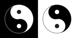 Zen symbol. Yin and Yan sign. Black and White Ying and Yang icon.