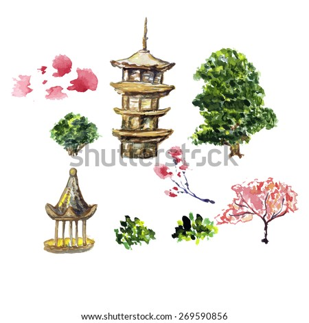 zen temple vector illustration