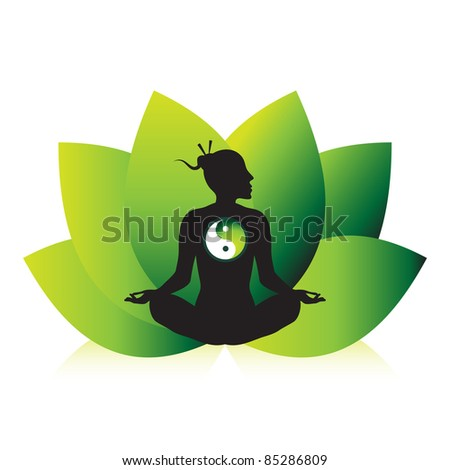 Zen yoga meditation silhouette design with lotus flower background.