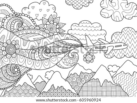 Zendoodle abstract airplane flying over beautiful mountain for banner,adult coloring book pages and design element. Stock Vector