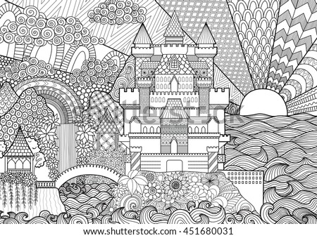 zendoodle castle landscape for