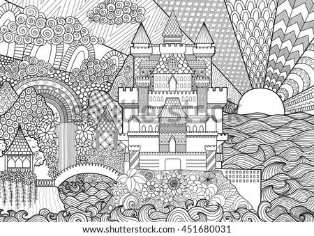 Zendoodle castle landscape for background, adult coloring and design element. Stock vector.