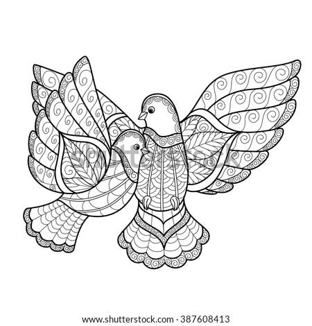 zentangl two stylized dove