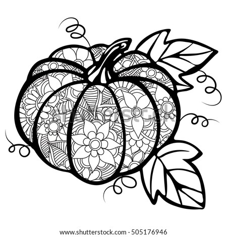 Zentangle patterns on white pumpkins pumpkin paper for Pumpkin coloring pages for adults