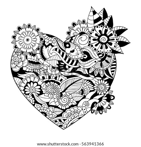Vector Heart Shaped Pattern For Adult Coloring Ethnic Zentangle Style Symbol Of Love And Passion Dedicated To Valentines Day