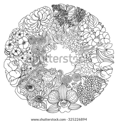 Zentangle And Doodle Style Flower In Circle Shape