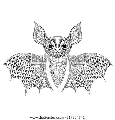 zentangle bat totem for adult