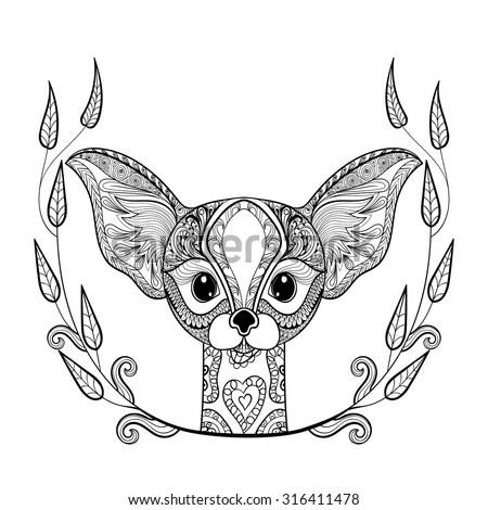 zentangle desert fox head totem