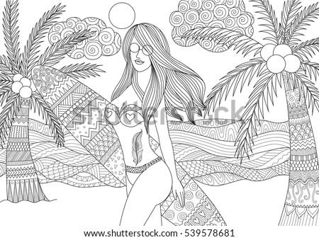 zentangle design of sexy girl