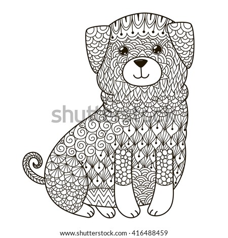 zentangle dog for coloring page