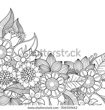 Zentangle doodle floral invitation card. Template flower frame design for card. Decorative hand-drawn vector element border.