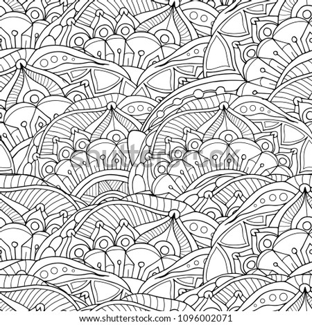 Zentangle doodle seamless pattern of mandala flowers