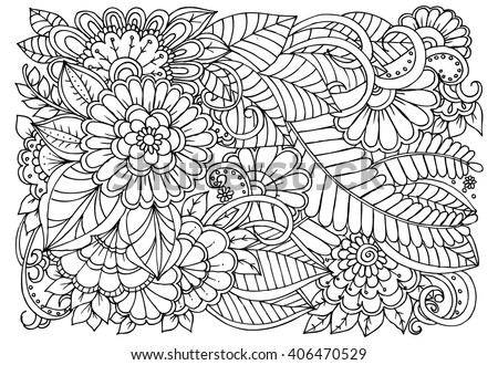 Floral Doodles In Black And White Coloring Pages For Adult Relaxing Job