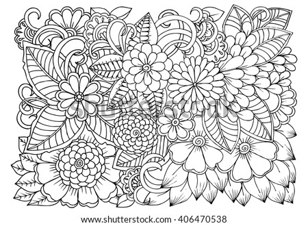 Free abstract floral pattern free vector 4vector Relaxing coloring books for adults
