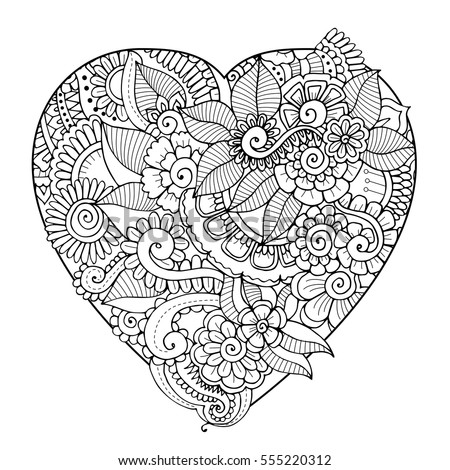 Zentangle floral heart black and white vector adult coloring book page