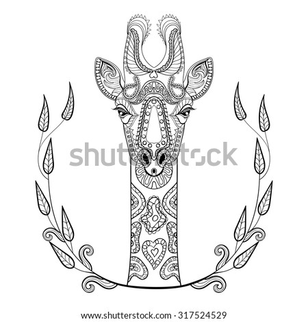 zentangle giraffe head totem in ...