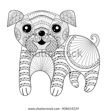 zentangle hand drawing dog for