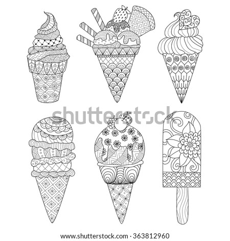 Zentangle ice cream set for coloring book for adult and other decorations.