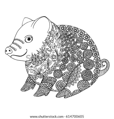 zentangle illustration with pig