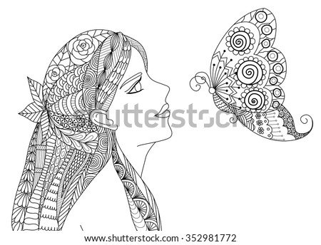 Zentangle Pretty Girl Looking At Flying Butterfly Design For Coloring Book Adult