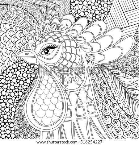 zentangle rooster  cock vector