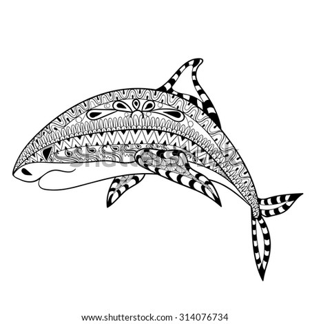 zentangle shark totem for adult
