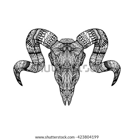 Adult Coloring Page Ram Skull