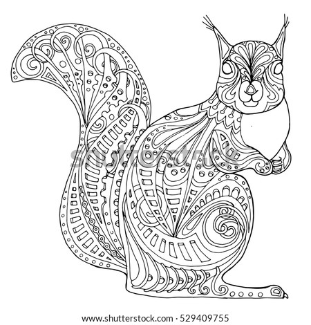 zentangle squirrel  doodle