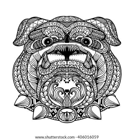 zentangle style bulldog face