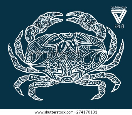 zentangle style crab vector illustration