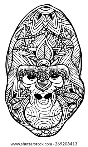 zentangle style gorilla vector