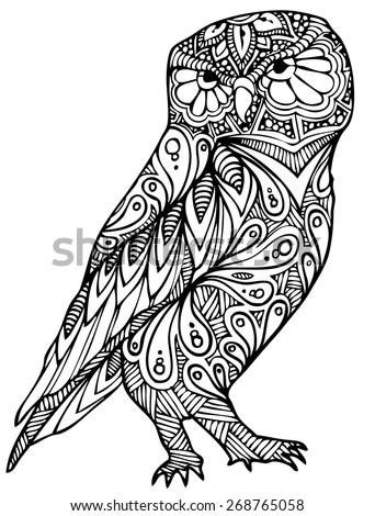 zentangle style owl vector
