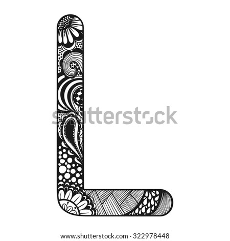 Zentangle Stylized Alphabet. Lace Letter L In Doodle Style ...