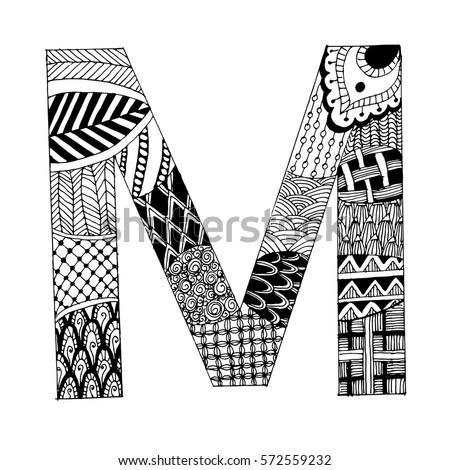 Royalty Free Zentangle Stylized Alphabet Letter M 458114851 Stock