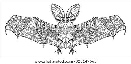 zentangle stylized bat hand