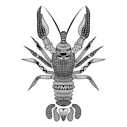 Zentangle stylized Black Crawfish. Hand Drawn Crayfish vector illustration. Sketch Lobster for tattoo or makhenda. Sea food collection.