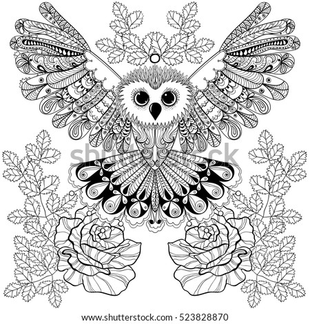zentangle stylized black owl