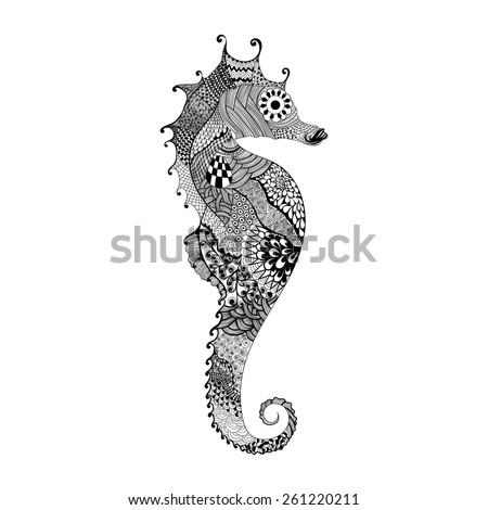 zentangle stylized black sea